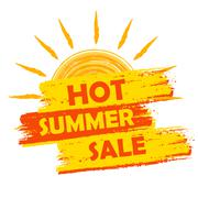 hot summer sale with sun sign, yellow and orange drawn label - stock illustration
