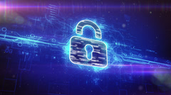 Digital padlock cyber security concept Stock Footage