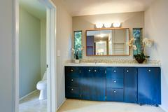 Royal bathroom vanity cabinet with flowers Stock Photos