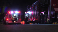 Rescue van and firetrucks medium shot Stock Footage