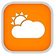 mainly clear or partly cloudy with sunny intervals sign - stock photo