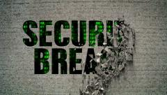Security Breach Crumbling Wall Code Matrix Stock Footage