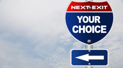 Your choice road sign Stock Footage