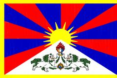 tibet flag drawing by pastel on charcoal paper - stock illustration