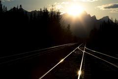 railway tracks in the evening - stock photo