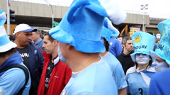 Uruguayan fans go to the match Uruguay x England for the World Cup 2014 Stock Footage