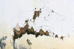 exterior wall with peeling paint indicating rising damp - stock photo
