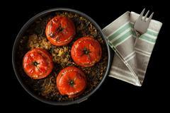 tomatoes stuffed rice chard - stock photo