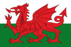 wales flag drawing by pastel on charcoal paper - stock illustration