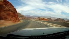 Car Driving The Road To Hoover Dam - stock footage