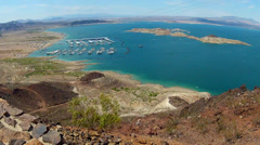 Lake Mead High And Wide With Marina And Shoreline Stock Footage