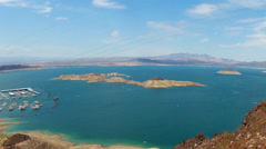 Lake Mead Showing High Water Mark On Islands Stock Footage
