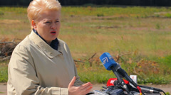 The President of Lithuania Dalia Grybauskaite gives speech Stock Footage