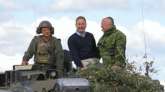Defense ministers of Denmark (Nicolai Wammen) and Lithuania (Juozas Olekas) Stock Footage