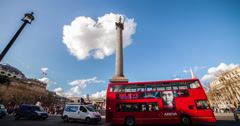 4K time lapse of Trafalgar Square and Nelson's Column in London Stock Footage