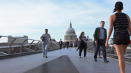 Stock Video Footage of St Paul's Cathedral, London England, Millennium Bridge