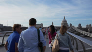 London St Paul's Cathedral from Millennium Bridge Stock Footage