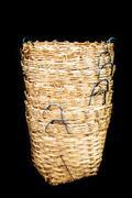 Rattan basket wicker is thai handmade in black isolate Stock Photos
