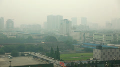 Pollution and buildings in chengdu china Stock Footage