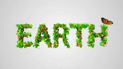 Earth Green leaves particles butterfly looping animation  4K Resolution Ultra HD - stock footage