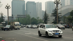 Busy and polluted traffic in chengdu china Stock Footage