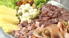 Gastronomy snacks plate - stock footage