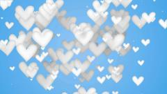 White Love Shape Particles blue background 4K Resolution Ultra HD Stock Footage