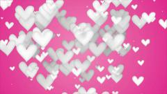 White Love Shape Particles pink background 4K Resolution Ultra HD Stock Footage