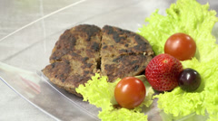 Gastronomy Cattle Hambburger and salad - stock footage