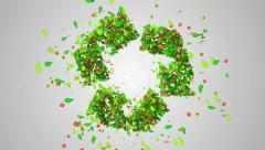 Recycle Symbol Green leaves particles butterfly 4K Resolution Ultra HD - stock footage