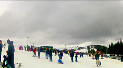 Winter ski resort 4k time lapse Stock Footage