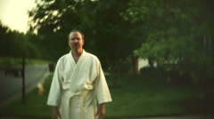 Karate guy walk walking Stock Footage
