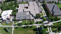 Aerial Snow College Ephraim Utah buildings HD 091 Stock Footage