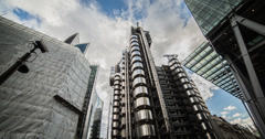 4K time lapse of the iconic Lloyd's of London on Leadenhall street in the City Stock Footage