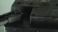 12V Car Battery With Jumper Cables Attached, Charging, Close Up, Pan Stock Footage