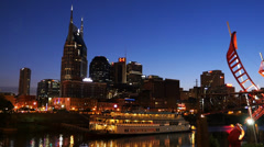 Stock Video Footage of Night Shot Downtown Nashville General Jackson Riverboat HD