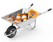 wheelbarrow and cones - stock illustration