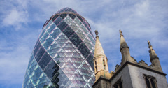4K time lapse of the iconic Gherkin in London's Financial district Stock Footage