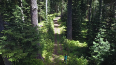 Aerial view flying away from hikers through a forest Stock Footage