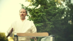 Karate instructor instruction Stock Footage