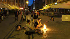 Fire dancers on street Stock Footage