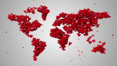 World Map Love Shape Particles Looping Animation 4K Resolution Ultra HD Stock Footage