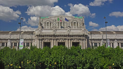 Establishing shot. Italy, Milan Centrale F.S., central railway terminal station. Stock Footage