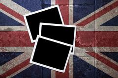 grunge flagged uk background with blank space on instant frame - stock illustration