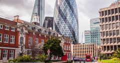 Stunning 4K time lapse of Aldgate, London with the Gherkin and Leadenhall behind Stock Footage