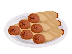 Pile of Sausage Pancake on A Plate Stock Illustration