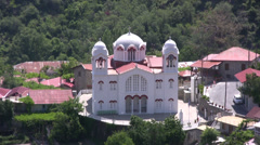 Byzantine church in Pedoulas village viewed from a high angle Stock Footage