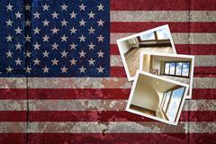Grunge flagged usa background with renovated home on instant frame Stock Illustration