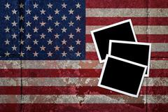 grunge flagged usa background with blank space on instant frame - stock illustration
