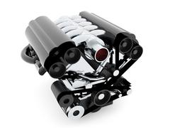 Car engine on white background isolated rendered Piirros